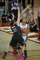 LOS ANGELES, CA - February 15, 2013:  Stanford's Sara James and Tess Picknell during the Cardinal's game against USC.   Stanford defeated USC, 79-55.