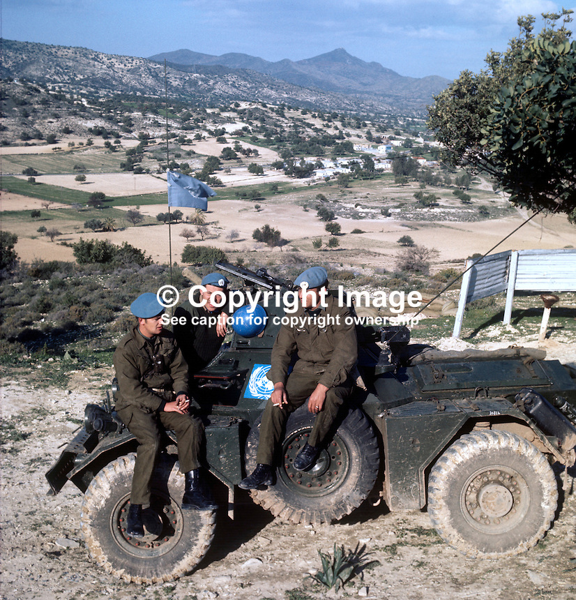Irish troops on a United Nations peacekeeping patrol in Cyprus take a break. 197102000113b..Copyright Image from Victor Patterson, 54 Dorchester Park, Belfast, UK, BT9 6RJ..Tel: +44 28 9066 1296.Mob: +44 7802 353836.Voicemail +44 20 8816 7153.Skype: victorpattersonbelfast.Email: victorpatterson@me.com.Email: victorpatterson@ireland.com (back-up)..IMPORTANT: If you wish to use this image or any other of my images please go to www.victorpatterson.com and click on the Terms & Conditions. Then contact me by email or phone with the reference number(s) of the image(s) concerned.
