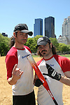 The Bold and the Beautiful Constantine Maroulis is joined by Mitchell Jarvis (GL & AMC) who star in Rock of Ages as they play in The Broadway Show League (softball) which has teams from the Broadway shows who played against Phantom on April 29. 2010 and Thursdays throughout the summer in Central Park, New York City, New York. (Photo by Sue Coflin/Max Photos)