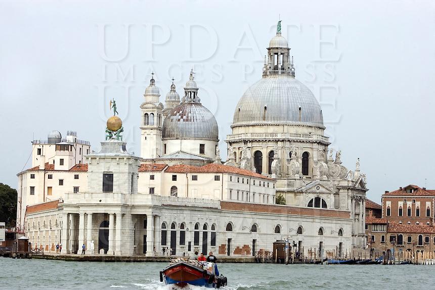 View of the Punta della Dogana contemporary art museum in Venice.<br />  In background, the St. Mary of Health (Santa Maria della Salute) Basilica.<br /> UPDATE IMAGES PRESS/Riccardo De Luca