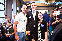 Jose Ortiz, Josh Lodestro, Amanda Sekutak attend DC Tech Meets Muriel Bowser hosted by WeWork Wonder Bread Factory on August 13, 2014. Photos by Joy Asico /Guest of a Guest