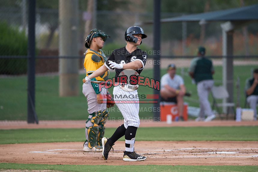 AZL White Sox designated hitter Steele Walker (8) takes a swing before an at bat during an Arizona League game against the AZL Athletics at Camelback Ranch on July 15, 2018 in Glendale, Arizona. The AZL White Sox defeated the AZL Athletics 2-1. (Zachary Lucy/Four Seam Images)