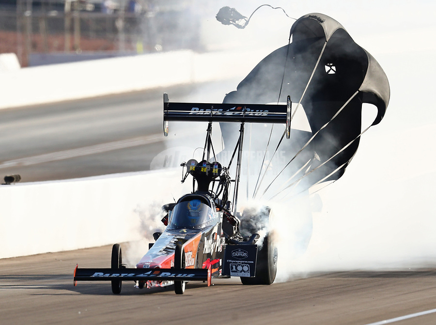 Oct 26, 2018; Las Vegas, NV, USA; NHRA top fuel driver Clay Millican during qualifying for the Toyota Nationals at The Strip at Las Vegas Motor Speedway. Mandatory Credit: Mark J. Rebilas-USA TODAY Sports