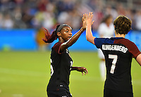 Kansas City, KS. - July 22, 2016: The U.S. Women's National team go up 1-0 over Costa Rica from a goal by Crystal Dunn in first half play during a friendly match in preparation for the Olympics at Children's Mercy Park.