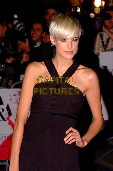 AGYNESS DEYN.The Golden Age of Couture VIP Gala held at the Victoria and Albert Museum, Kensington, London, England. .September 18th, 2007 .V&A V & A half length black dress hand on hip .CAP/SW.©Stephen Walters/Capital Pictures.