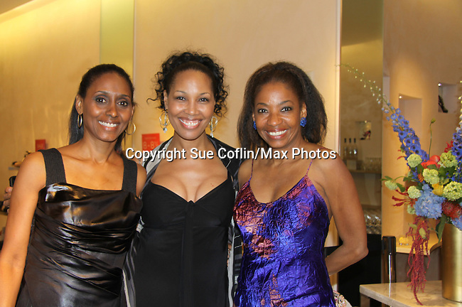 "Actress Sally Stewart, Guiding Light Kim Brockington, Adriane Lenox - Tony Winner 2007 for ""Doubt"" at The Innaugural Celebration of Color on Broadway Awards were held on June 8, 2011 at SAKS Fifth Avenue, New York City, New York. The event was held upstairs where beautiful shoes are sold and where a part of the sales this night will benefit OPUS 118 Harlem's School of Music. (Photo by Sue Coflin/Max Photos)"