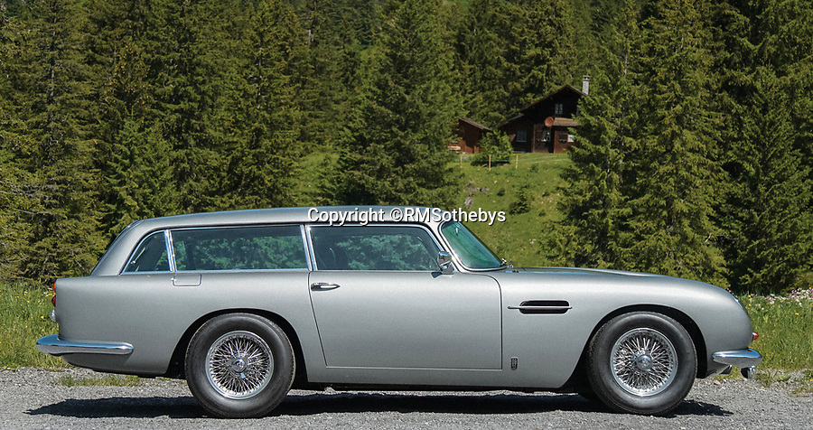 BNPS.co.uk (01202 558833)<br /> Pic:  RMSothebys/BNPS<br /> <br /> A rare Aston Martin that would be more suited to a family holiday than a James Bond movie has emerged for sale for £1.2m.<br /> <br /> The DB5 Shooting Break is an estate version of 007's iconic coupe and is one of only 12 examples ever made by the British car giant.<br /> <br /> It is also one of just four models built in in left-hand-drive making it one of the rarest Aston Martins in the world today.<br /> <br /> The quirky motor has the same stylish front end as the car made famous by Sean Connery in Goldfinger but the rear is a completely different story.