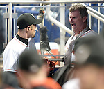 (L-R) Ichiro Suzuki, Dan Jennings (Marlins), MAY 18, 2015 - MLB : Miami Marlins batter Ichiro Suzuki (L) presents Manager Dan Jennings (R) with a necktie during the major league baseball game against the Arizona Diamondbacks at Marlins Park in Miami, United States. (Photo by AFLO)