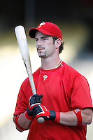 Aaron Rowand of the Philadelphia Phillies during batting practice before a game against the Los Angeles Dodgers in a 2007 MLB season game at Dodger Stadium in Los Angeles, California. (Larry Goren/Four Seam Images)