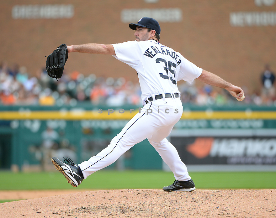 Detroit Tigers Justin Verlander (35) during a game against the Oakland A's on July 2, 2014 at Comerica Park in Detroit, MI. The Tigers beat the A's 9-3.