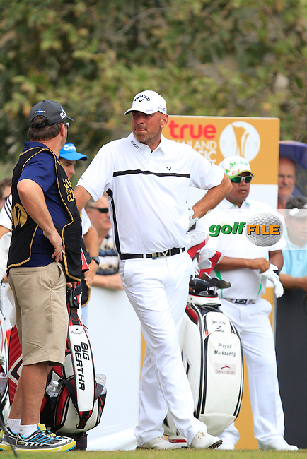 Thomas Bjorn (DEN) on the 8th tee during Round 4 of the True Thailand Classic at the Black Mountain Golf  Club on Sunday 15th February 2015.<br /> Picture:  Thos Caffrey / www.golffile.ie