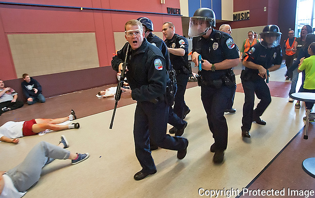 Active shooter training at Ellensburg High School, Wednesday, June 26, 2013. (Brian Myrick / Daily Record)