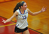 Kiersten Cote #13 of Kellenberg reacts after a point won in the second set of a CHSAA varsity girls volleyball match against host Sacred Heart Academy in Hempstead on Tuesday, Oct. 4, 2016. Kellenberg won the match 3-0.