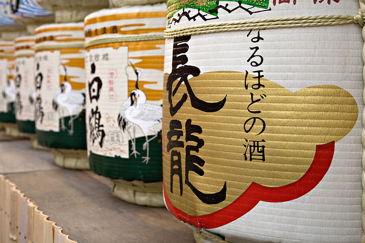 Sake barrels at Shosha Shrine in Himeji Japan