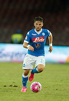 Napoli's Dries Mertens controls the ball during the  italian serie a soccer match against    Juventus,    at  the San  Paolo   stadium in Naples  Italy , September 26 , 2015