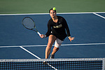 Joanna Zalewski of the Wake Forest Demon Deacons returns the ball during her match at #6 singles against the North Carolina Tar Heels at the Wake Forest Tennis Center on March 29, 2017 in Winston-Salem, North Carolina. The Tar Heels defeated the Demon Deacons 6-1.  (Brian Westerholt/Sports On Film)