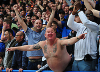 Sheffield Wednesday fan gets behind his team<br /> <br /> Photographer Andrew Vaughan/CameraSport<br /> <br /> The EFL Sky Bet Championship Play-Off Semi Final First Leg - Huddersfield Town v Sheffield Wednesday - Saturday 13th May 2017 - The John Smith's Stadium - Huddersfield<br /> <br /> World Copyright &copy; 2017 CameraSport. All rights reserved. 43 Linden Ave. Countesthorpe. Leicester. England. LE8 5PG - Tel: +44 (0) 116 277 4147 - admin@camerasport.com - www.camerasport.com