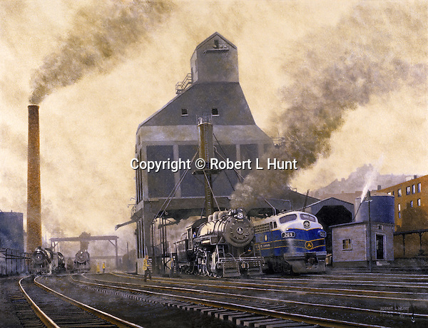 "Baltimore and Ohio Railroad coaling dock and sanding tower at the locomotive maintenance yard in Grafton, WV, circa 1950. Oil on canvas, 20"" x 26""."