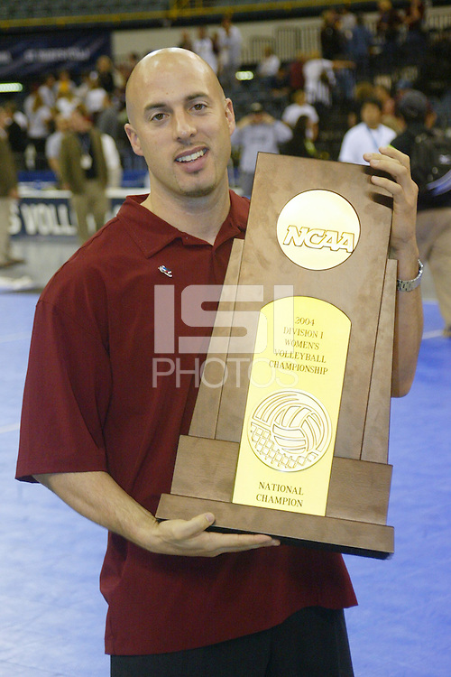 18 December 2004: Stanford Cardinal strength and conditioning coach Juan Pablo Reggiardo during Stanford's  30-23, 30-27, 30-21 victory over Minnesota in the 2004 NCAA Women's Volleyball National Championships in Long Beach, CA. Stanford won their sixth women's volleyball title in school history.
