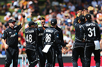 The Blackcaps celebrate the early wicket of England's Jonny Bairstow. New Zealand Blackcaps v England. One Day International Cricket. Seddon Park, Hamilton, New Zealand on Sunday 25 February 2018.<br /> <br /> Copyright photo: &copy; Bruce Lim / www.photosport.nz