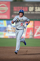 Luke Raley (15) of the Rancho Cucamonga Quakes runs the bases after hitting a home run during a game against the Inland Empire 66ers at San Manuel Stadium on July 9, 2017 in San Bernardino, California. Inland Empire defeated Rancho Cucamonga 12-2. (Larry Goren/Four Seam Images)