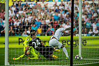 The ball crosses the line for Leroy Fer of Swansea City's goal during the Premier League match between Swansea City and Chelsea at The Liberty Stadium, Swansea, Wales, UK. 11 September 2017