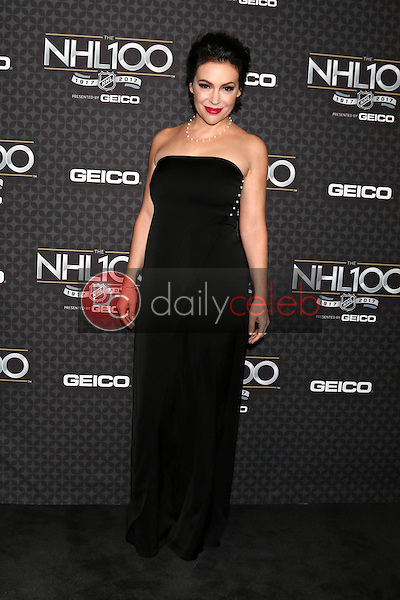 Alyssa Milano<br /> at the The NHL100 Gala, Microsoft Theater, Los Angeles, CA 01-27-17<br /> David Edwards/DailyCeleb.com 818-249-4998