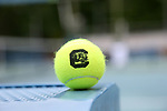 CHAPEL HILL, NC - MAY 12: South Carolina tennis ball. The University of South Carolina Gamecocks played the East Tennessee State University Buccaneers on May 12, 2017, at The Cone-Kenfield Tennis Center in Chapel Hill, NC in an NCAA Division I Men's College Tennis Tournament first round match. South Carolina won 5-0.