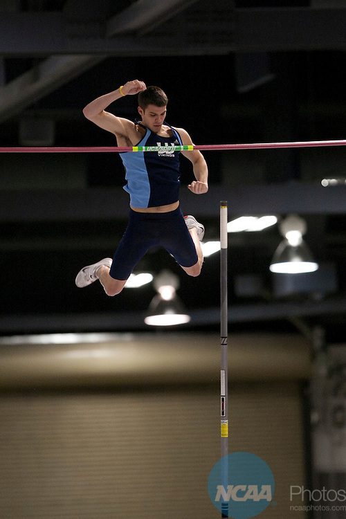 12 MAR 2011:  Ryan Brown of Western Washington competes in the pole vault competition during the Division II Men's and Women's Indoor Track and Field Championship held at the Albuquerque Convention Center in Albuquerque, NM.  Brown won the event with a jump of 5.25 meters.  Mark Holm/ NCAA Photos