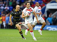 PICTURE BY VAUGHN RIDLEY/SWPIX.COM - Rugby League - 2013 International Origin - England v Exiles - Halliwell Jones Stadium, Warrington, England - 14/06/13 - England's James Roby runs in a try.