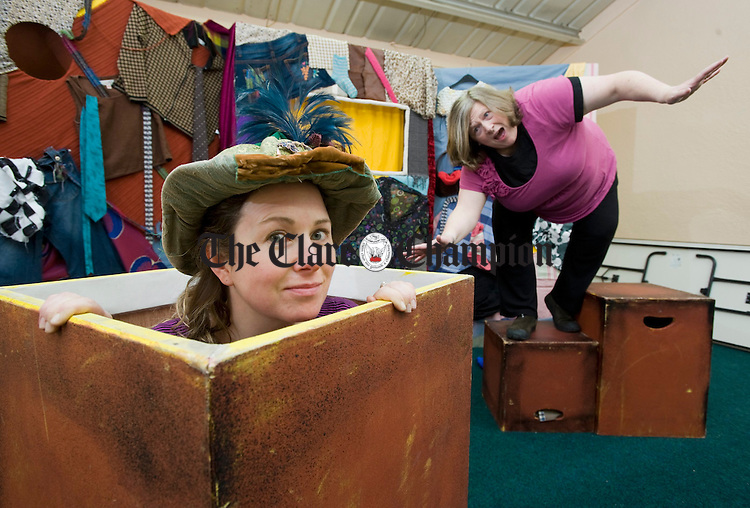 Gillian Kelly and Eileen Gibbons of Cups and Crowns Educational Theatre Company during their production of A Stitch In Time for the children of Kildysart NS during their schools tour of Clare. Photograph by John Kelly.
