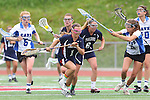 Redondo Beach, CA 05/14/11 - Ashley Bulloch (St Margaret #1), Kelsey Patch (St Margaret #6) and unidentified Cate player in action during the 2011 Division 2 US Lacrosse / CIF Southern Section Championship game between Cate School and St Margaret.