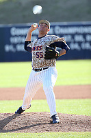 Chandler Blanchard (55) of the Pepperdine Waves pitches against the Fresno State Bulldogs at Eddy D. Field Stadium on March 7, 2017 in Los Angeles, California. Pepperdine defeated Fresno State, 8-7. (Larry Goren/Four Seam Images)