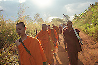 November 3, 2013 - Areng Valley (Koh Kong). The monks start a 25 km through the jungle to reach the Areng Valley to raise awareness of the environmental destruction occurring across Cambodia.. © Thomas Cristofoletti / Ruom