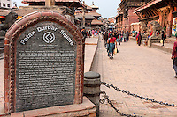 Nepal, Patan.  Durbar Square Sign, Noting History and World Heritage Status.