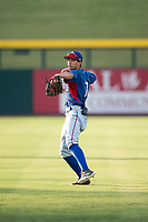AZL Rangers infielder Jayce Easley (71) warms up before an Arizona League game against the AZL Cubs 2 at Sloan Park on July 7, 2018 in Mesa, Arizona. AZL Rangers defeated AZL Cubs 2 11-2. (Zachary Lucy/Four Seam Images)