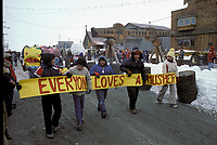 Nome School Children w/Banner on Front St Nome AK Iditarod 1983