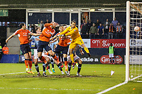 Scott Cuthbert of Luton Town (6) scores his team's second goal of the game to make the score 2-1 on the night during the Sky Bet League 2 Play Off Semi Final 2 leg match between Luton Town and Blackpool at Kenilworth Road, Luton, England on 18 May 2017. Photo by David Horn.