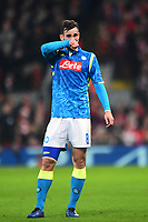 Napoli's Fabian reacts<br /> <br /> Photographer Richard Martin-Roberts/CameraSport<br /> <br /> UEFA Champions League Group C - Liverpool v Napoli - Tuesday 11th December 2018 - Anfield - Liverpool<br />  <br /> World Copyright &not;&copy; 2018 CameraSport. All rights reserved. 43 Linden Ave. Countesthorpe. Leicester. England. LE8 5PG - Tel: +44 (0) 116 277 4147 - admin@camerasport.com - www.camerasport.com