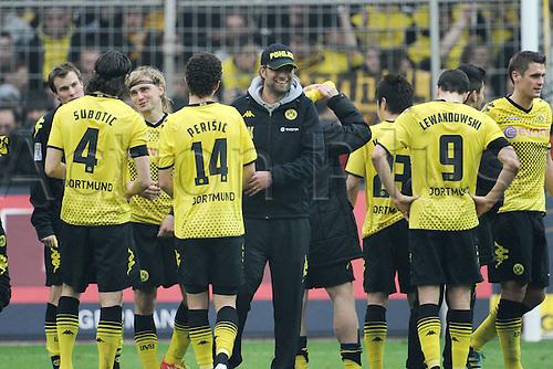 17 03 2012   Bundesliga 26 Matchday Borussia Dortmund versus Werder Bremen team manager Jurgen Klopp Borussia Dortmund celebrates with his Players