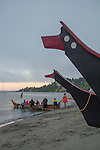 Canoe Journey, Paddle to Nisqually, 2016, La Push Canoes, Quinault Tribe,departing at sunrise, Port Townsend, Fort Worden, Olympic Peninsula, Puget Sound, Salish Sea, Washington State, USA,