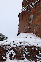 Rome, Villa Gordiani:  A view of the ancient Tor de&rsquo; Schiavi (the Tower of the Slaves), in villa Gordiani, on the Prenestina road.  This is a peculiar view, since it is taken after a snowing night and the ruins are covered by snow (February 2012).<br />