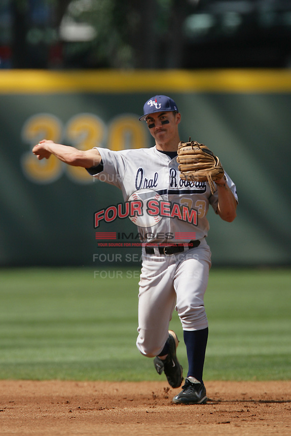 March 20, 2010: Tyler Saladino (23) of Oral Roberts during game against UCLA at UCLA in Los Angeles,CA.  Photo by Larry Goren/Four Seam Images