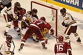 Brenden Kotyk (UMD - 10), Alexander Kerfoot (Harvard - 14), Dominic Toninato (UMD - 19), Lewis Zerter-Gossage (Harvard - 77), Ryan Donato (Harvard - 16), Neal Pionk (UMD - 4) - The University of Minnesota Duluth Bulldogs defeated the Harvard University Crimson 2-1 in their Frozen Four semi-final on April 6, 2017, at the United Center in Chicago, Illinois.