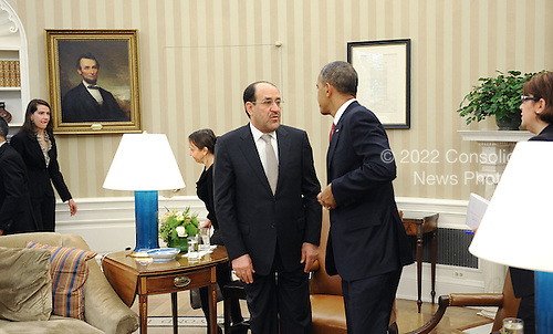 Prime Minister Nouri Al-Maliki of Iraq, left, speaks with United States President Barack Obama in the Oval Office at the White House, Friday, November 1, 2013 in Washington, DC.  <br /> Credit: Olivier Douliery / Pool via CNP