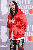Steve Aoki<br /> arriving for the BRIT Awards 2019 at the O2 Arena, London<br /> <br /> ©Ash Knotek  D3482  20/02/2019<br /> <br /> *images for editorial use only*