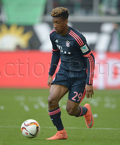 27.02.2016. Wolfsburg, Germany.  Munich's Kingsley Coman in action during the German Bundesliga soccer match between VfL Wolfsburg and FC Bayern Munich at the Volkswagen-Arena in Wolfsburg, Germany
