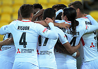 The Wanderers celebrate the opening goal during the A-League football match between Wellington Phoenix and Western Sydney Wanderers at Westpac Stadium in Wellington, New Zealand on Saturday, 3 November 2018. Photo: Dave Lintott / lintottphoto.co.nz