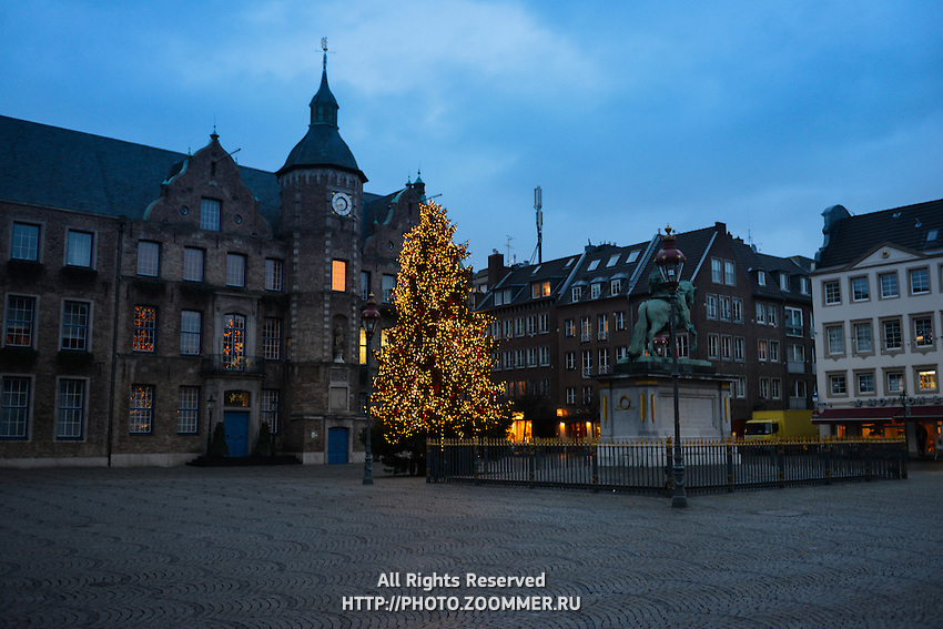 Empty Market Square with Christmas tree in Dusseldorf, Germany