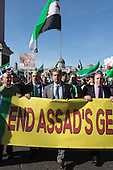 15 March 2014, London, UK. A march against Assad's regime and the killing of citizens in Syria takes place in Central London.
